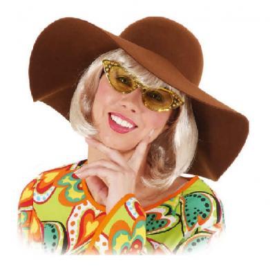 O47562-25 gelb Damen Herren Hippie Brille Spaßbrille - 1