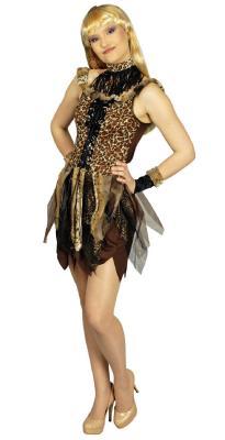 K31250225-36-38 schwarz-braun Damen Urwald Kleid Steinzeit Kostüm Gr.36-38 - 1