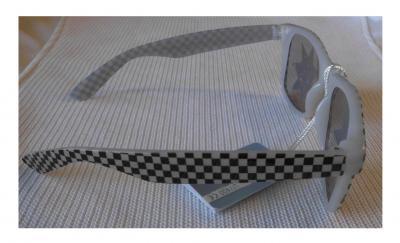 Ra-V-1017-3 weiß Damen Herren Neon Karo Brille Sonnenbrille - 1