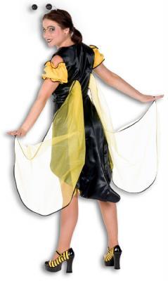 L3201050-38 gelb-schwarz Damen Bienen Kleid Tier Kostüm Gr.38 - 1