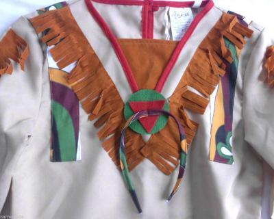 Ke02294-116-A braun-rot Indianerin Indianerkleid Gr.116 - 1