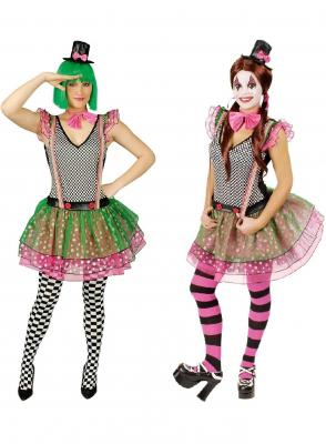 K31250280-36-38 bunt Damen Clown Zirkus Kostüm Gr.36-38 - 1