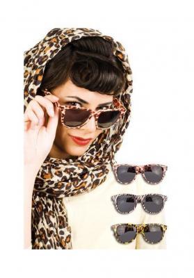 B025623-1 braun Damen Leoparden Brille Partybrille Panter - 1