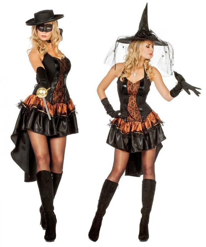 hexe hexen kost m kleid witch zauberin vampir hexenkost m zorrokost m damen ebay. Black Bedroom Furniture Sets. Home Design Ideas
