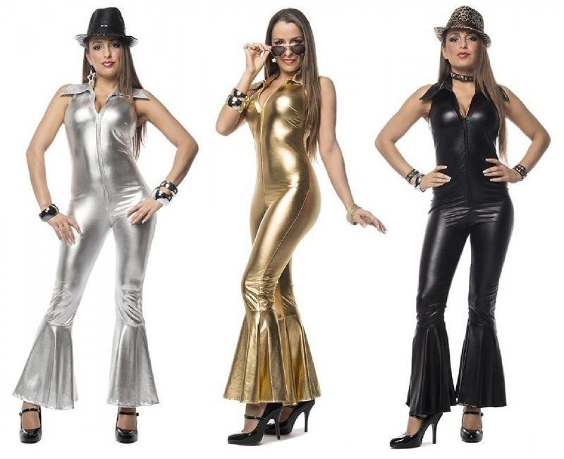 Disco Catsuit Kostüm Kleid Damen Motto Party Karneval Pailletten ...