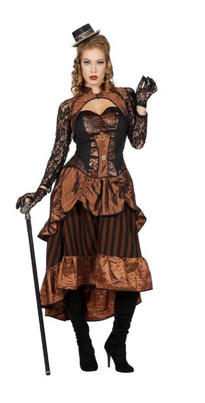 c16848c01f11d4 W4004-34 braun-schwarz Damen Rokoko Steampunk Burlesque Kleid Gr.34