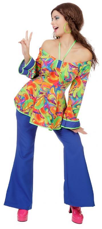70er 80er Jahre Kostüm Kleid Weste Damen Flowerpower Hippie Hippy