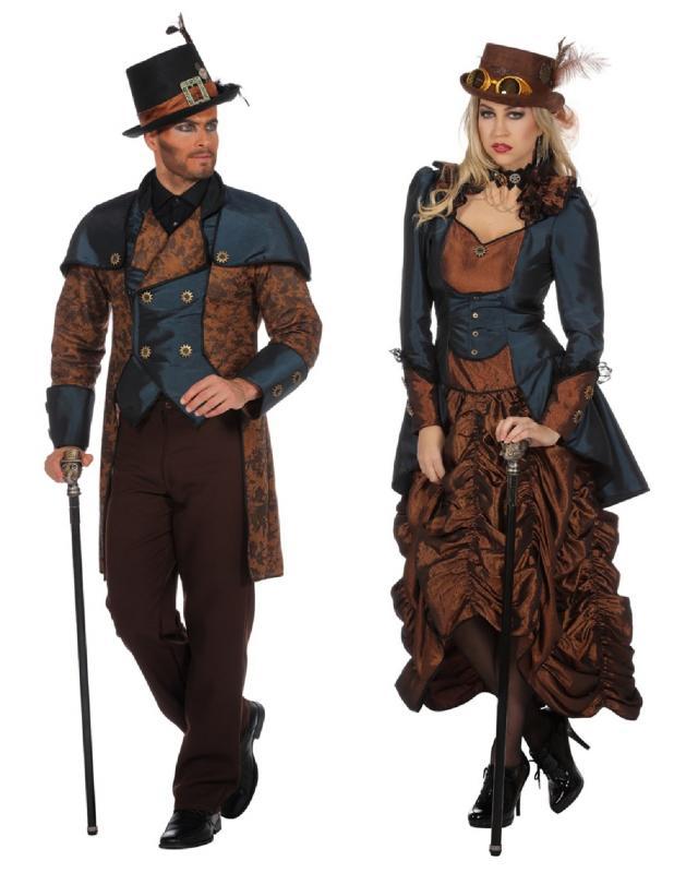eaf2f94c5ff97d ... L3203410 braun-blau Damen Rokoko Steampunk Burlesque Kostüm Kleid - 3