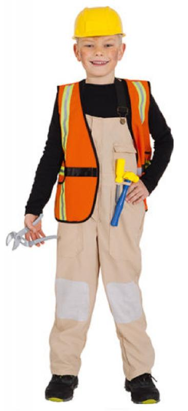 Bauarbeiter Handwerker Polier Klempner Kostum Weste Helm Junge
