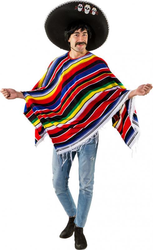 01b9f69e6c830d Poncho Mexikaner Mexiko Sambrero Umhang Cape Überwurf Kostüm ...