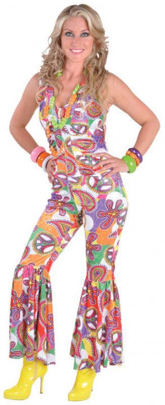 70er 80er Jahre Anzug Kostüm Flowerpower Damen Hippie Perücke Disco Party Kleid