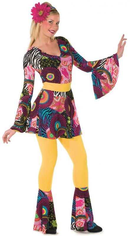 70er 80er Jahre Kleid Kostüm Flowerpower Damen Hippie Hippy Hippiekostüm Party