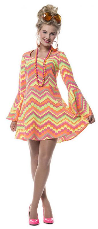 70er 80er Jahre Kleid Kostum Flowerpower Damen Hippie Hippy