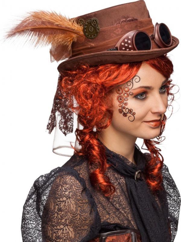 Burlesque-Barock-Rokoko-Steampunk-Damen-Zylinder-Hut-Kette-Kostuem-Kleid-Gothic