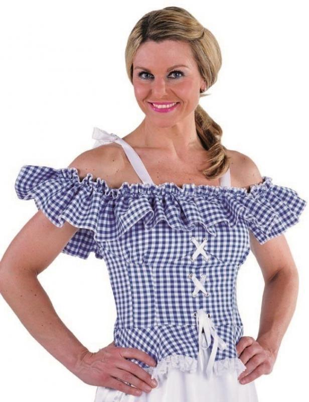 Bluse-Carmenkostuem-Damen-Trachten-Dirndel-Dirndl-Cowgirl-Spanierin-Saloon-Kleid