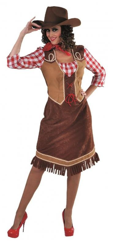 Cow Girl Kostum Kleid Wilder Westen Saloon Damen Cowgirlkostum