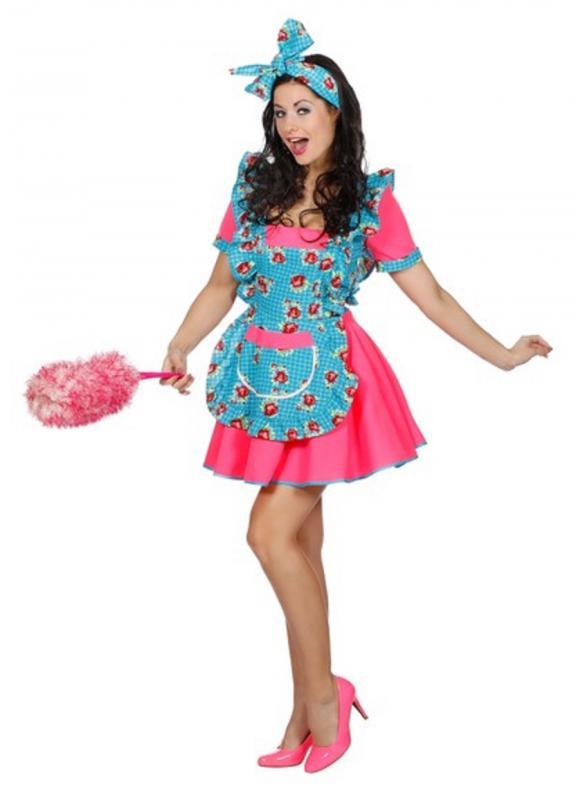 Putzfrau Putzkittel Kostüm Kleid Damen Zimmermädchen Dienstmädchen Stubenmädchen