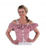 M212138-64 rot-weiß-kariert Carmenbluse Cowgirlbluse Trachtenbluse