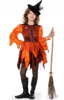 W3417 orange-braun Kinder Hexenkleid Feenkleid