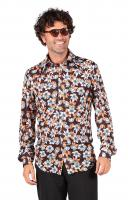 T2549-HAFL mehrfarbig Herren Disco Hippie Bluse-Hemd Party Kostüm Hawaii